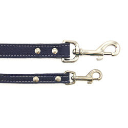 Image of Tuscan Leather Dog Leash by Auburn Leather - Navy Blue