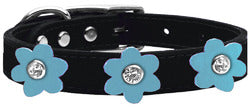 Flower Leather Collar Black With Baby Blue flowers Size 24