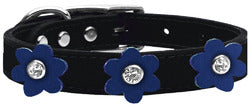 Flower Leather Collar Black With Blue flowers Size 26