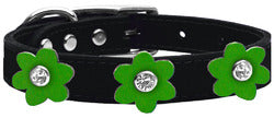 Flower Leather Collar Black With Emerald Green flowers Size 22
