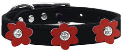 Flower Leather Collar Black With Red flowers Size 26