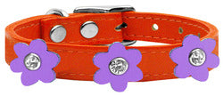 Flower Leather Collar Orange With Lavender flowers Size 26