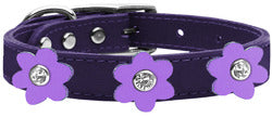 Flower Leather Collar Purple With Lavender flowers Size 22