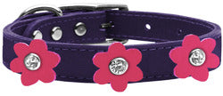 Flower Leather Collar Purple With Pink flowers Size 24