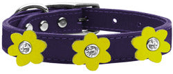 Flower Leather Collar Purple With Yellow flowers Size 26