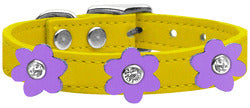 Flower Leather Collar Yellow With Lavender flowers Size 24