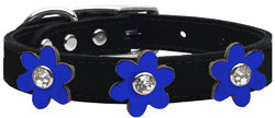 Metallic Flower Leather Collar Black With Metallic Blue flowers Size 22