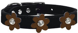 Metallic Flower Leather Collar Black With Bronze flowers Size 24