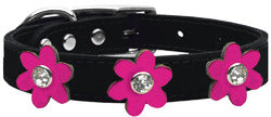Metallic Flower Leather Collar Black With Metallic Pink flowers Size 22