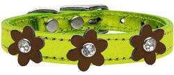 Metallic Flower Leather Collar Metallic Lime Green With Bronze flowers Size 26