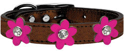 Metallic Flower Leather Collar Bronze With Metallic Pink flowers Size 24