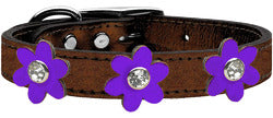 Metallic Flower Leather Collar Bronze With Metallic Purple flowers Size 24