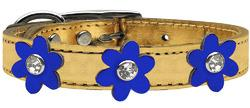 Metallic Flower Leather Collar Gold With Metallic Blue flowers Size 24