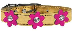 Metallic Flower Leather Collar Gold With Metallic Pink flowers Size 22