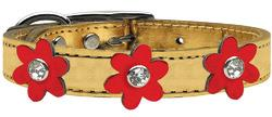 Metallic Flower Leather Collar Gold With Metallic Red flowers Size 22