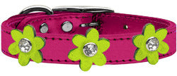 Metallic Flower Leather Collar Metallic Pink With Metallic Lime Green flowers Size 24