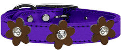 Metallic Flower Leather Collar Metallic Purple With Bronze flowers Size 22