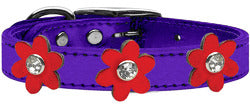 Metallic Flower Leather Collar Metallic Purple With Metallic Red flowers Size 24
