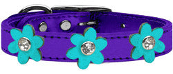 Metallic Flower Leather Collar Metallic Purple With Metallic Turquoise flowers Size 26
