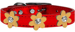 Metallic Flower Leather Collar Metallic Red With Gold flowers Size 22