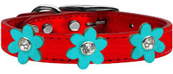 Metallic Flower Leather Collar Metallic Red With Metallic Turquoise flowers Size 26