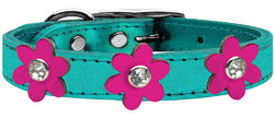 Metallic Flower Leather Collar Metallic Turquoise With Metallic Pink flowers Size 26