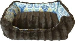 Reversible bumper dog bed Bohemian Blues Small
