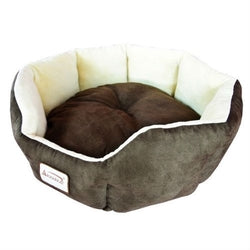 Image of Mocha Beige Round Oval Pet Bed for Small Dogs or Cats