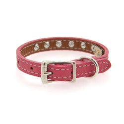 Image of Tuscan Crystallized Leather Dog Collar by Auburn Leather - Pink