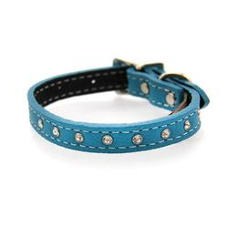 Tuscan Crystallized Leather Dog Collar by Auburn Leather - Turquoise