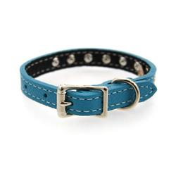 Image of Tuscan Crystallized Leather Dog Collar by Auburn Leather - Turquoise