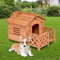 Image of Wooden Pet Dog House Crates with Porch Window
