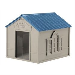 Image of Outdoor Dog House in Taupe and Blue Roof Durable Resin - For Dogs up to 100 lbs