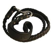 COMFORT BRAID BLACK - LEATHER DOG LEASH - 4ft