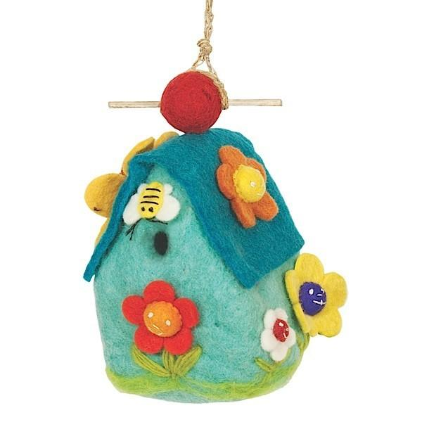 Flower House Wool Felt Birdhouse