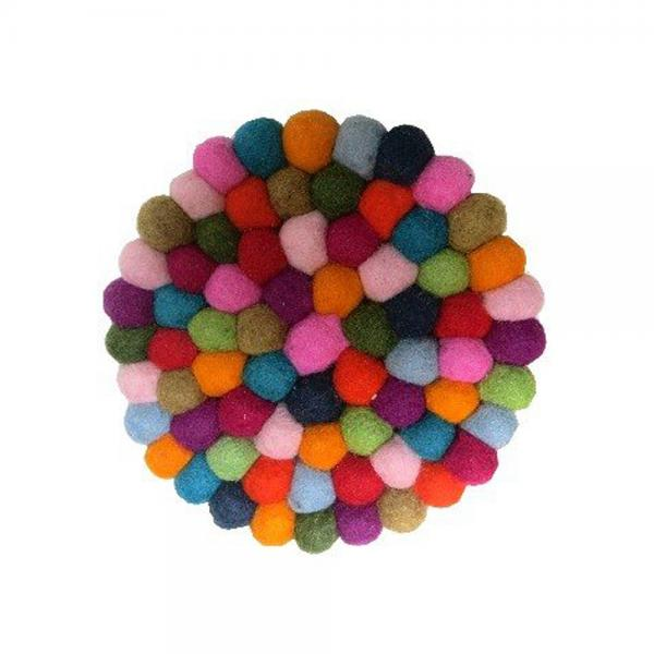 Felted Wool Ball Multicolor Trivet