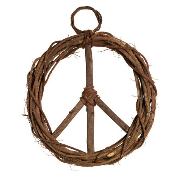 Peace Sign Wood Vine Wreath