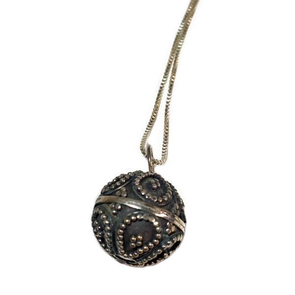 Chiming Dream Ball Sterling Silver Necklace