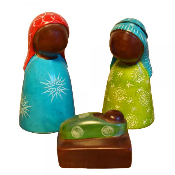Colorful Three-Piece Soapstone Nativity