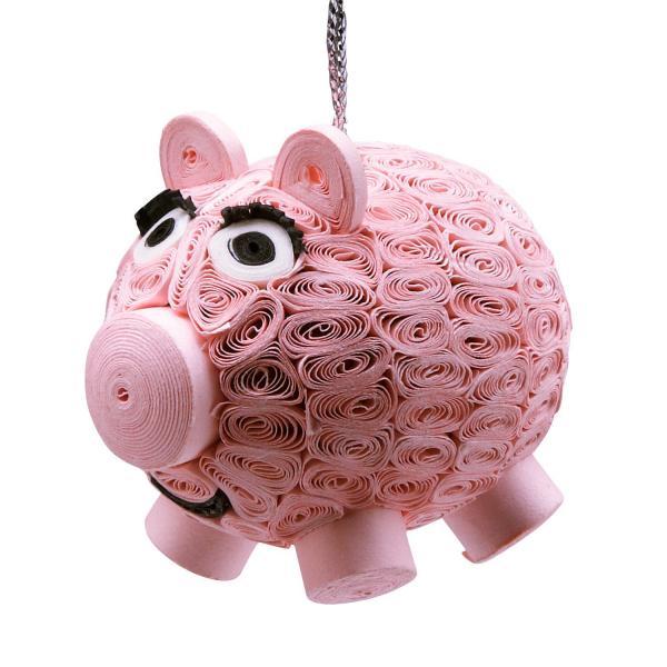 Smiling Pig Quilled Paper Ornament