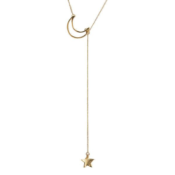 Star Catcher Necklace with Crescent Moon