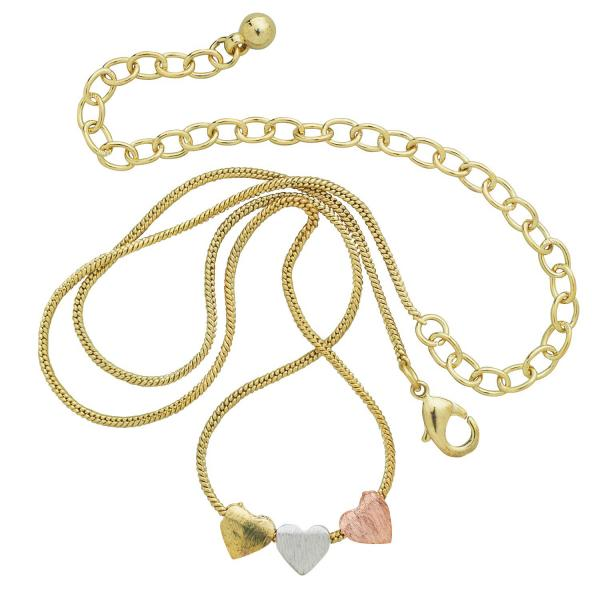 Dainty Hearts Tri-colored Metal Necklace