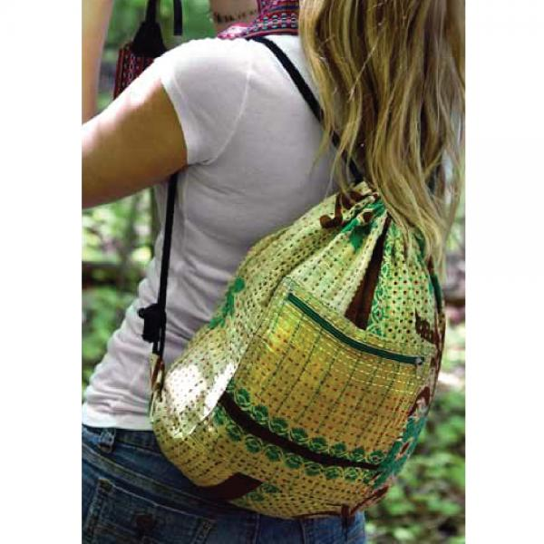 Kantha Drawstring Bag
