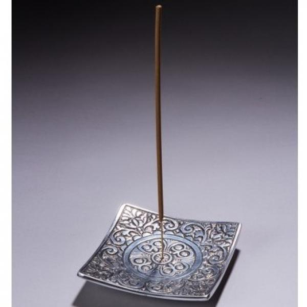 Square Metal Incense Holder with Design