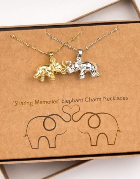 Elephant Charm Necklace Silver and Gold Set of 2