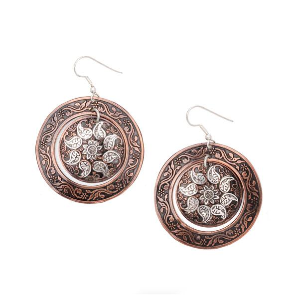 India Paisley Shield Earring Copper and Silver