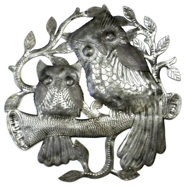 Pair of Owls on Perch Metal Drum Art