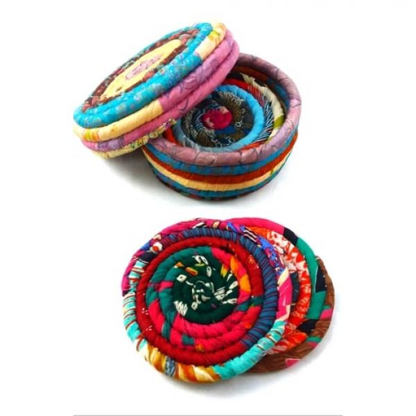 Recycled Sari Coasters Set of 4 in Lidded Box