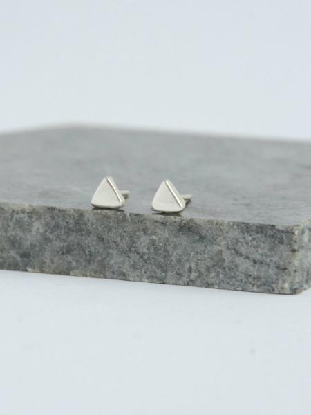 Tiny Triangle Sterling Silver Stud Earrings