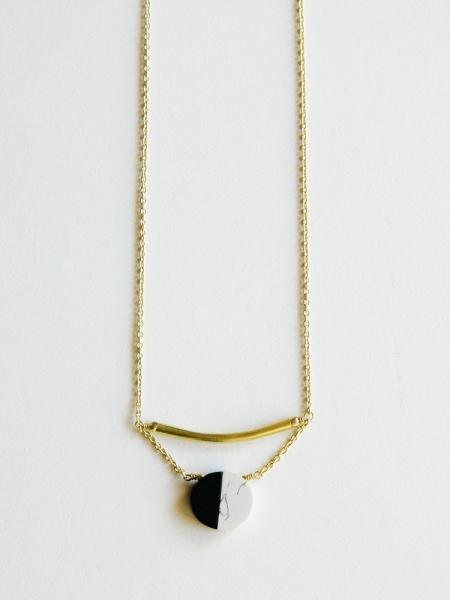 Nova Necklace Black and White with Gold Bar